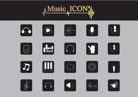 white background illustration: Music Icons set with White Background, Illustration Illustration