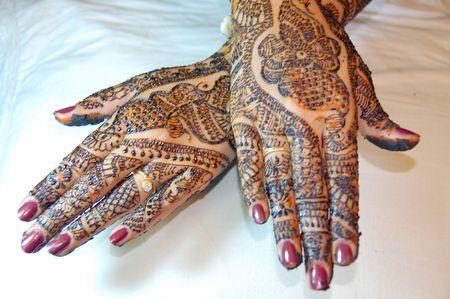 Henna Tattoo Design on Hands Stock Photo