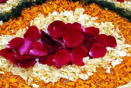 Rose petals rangoli decoration Фото со стока