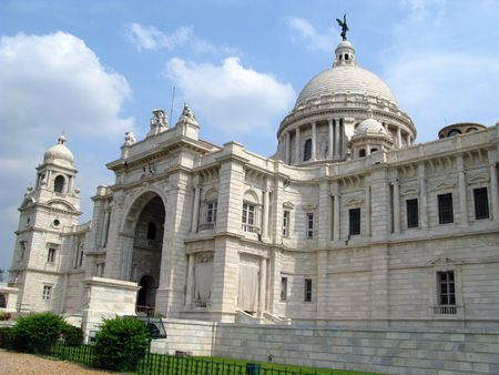 historians: Victoria Memorial Building in Kolkata, India. A famous tourist attraction Stock Photo