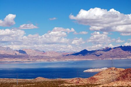 divert: Lake mead in las vegas , nevada,USA is an artificial lake near hoover dam. Stock Photo