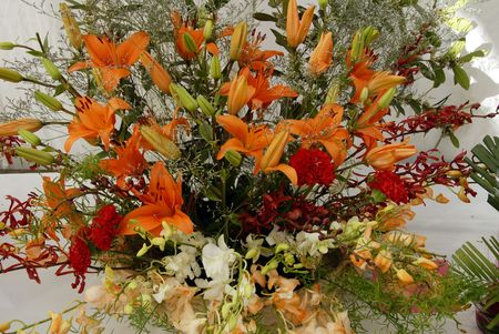 An isolated shot of flowers in Ikebana Flower Bouquet photo
