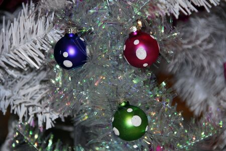 Red and White Christmas Decoration Baubles photo
