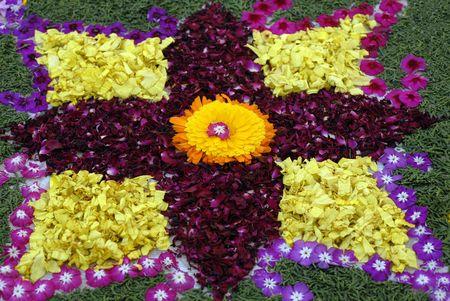 ikebana: Rose petals rangoli decoration Ikebana