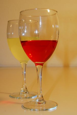 barware: Two Drinks in Wine Glasses