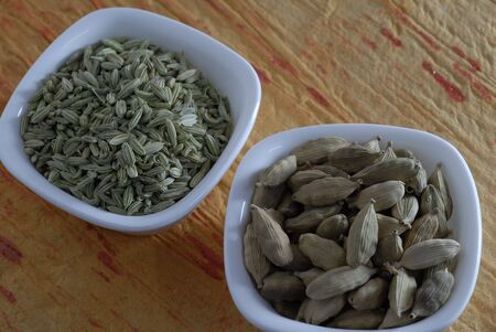 saunf: Cardamom and Fennel Seeds Dried as condiments Stock Photo