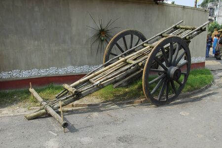 bullock animal: bamboo wood bullock cart