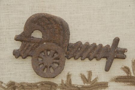 bullock cart made of mud on wall Stok Fotoğraf