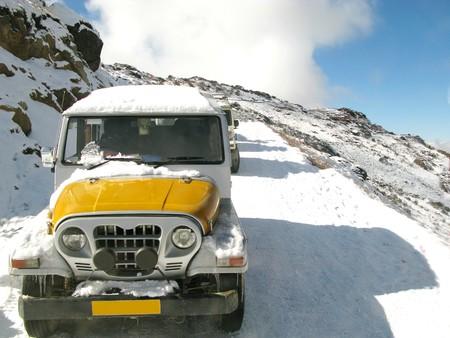 Car stuck in snowfall