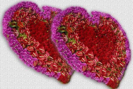heart shaped: heart shaped Flower decoration with roses and assorted flowers