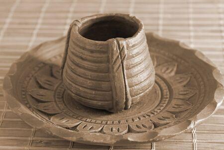 earthen: Tradizionale Handicrafted EARTHEN Tea Cup e Saucer