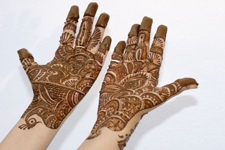 An isolated shot of Henna Tattoo on Hands photo