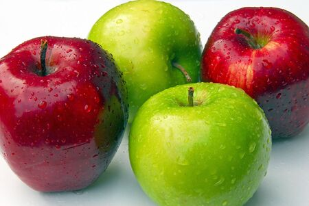 An isolated shot of red and green apples Stock Photo - 5644330