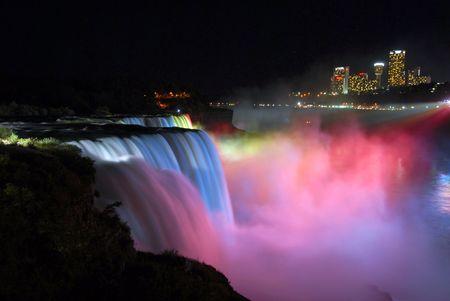 scenic night view Niagara Falls in New York usa