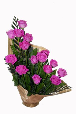 isolated shot of pink rose flowers in Ikebana Flower Bouquet