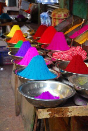 Color powder on sale to celebrate Holi Festival