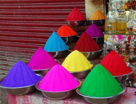 Color powder on sale to celebrate Holi Festival photo