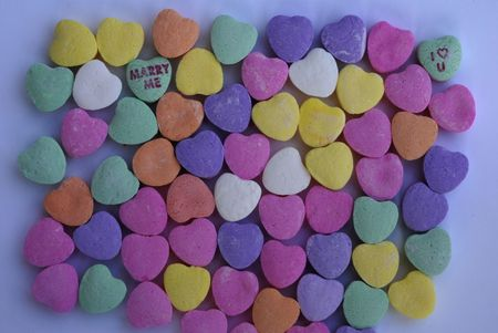 An isolated shot of Love Heart Candy in different colors Stock Photo - 5644391