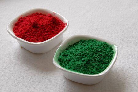 red green color powder for holi festival in India 版權商用圖片