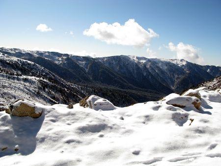 Snowfall on mountains in Gangtok Sikkim India Stock Photo