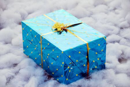 an isolated shot of a blue Gift Box photo