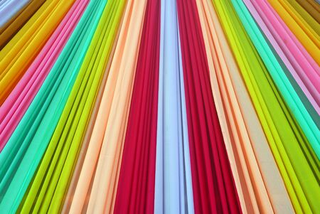 Ornate colorful designer curtains in multi colors Stock Photo