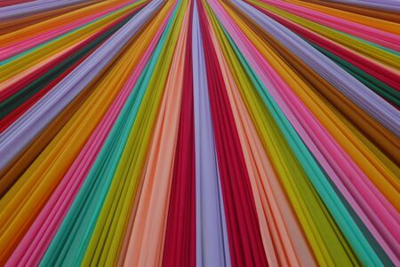 drapes: Ornate colorful designer curtains in multi colors Stock Photo