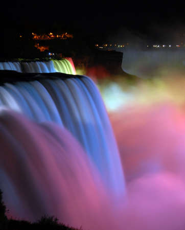 scenic night view Niagara Falls in New York usa photo