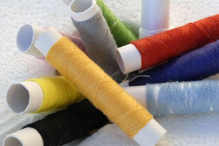 assort: an isolated shot of colorful Thread String Spool  Stock Photo