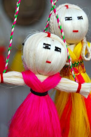 handicraft colorful dolls made of jute fiber