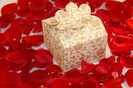 white valentine pearl gift box on rose flower petals Stock Photo - 7470368