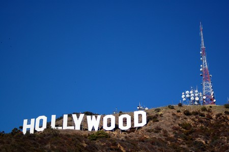 Hollywood sign on hills in Los Angeles California USA Redactioneel