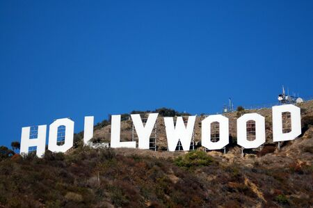 burbank: Hollywood sign on hills in Los Angeles California USA Editorial