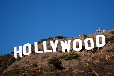 hill: Hollywood sign on hills in Los Angeles California USA Editorial