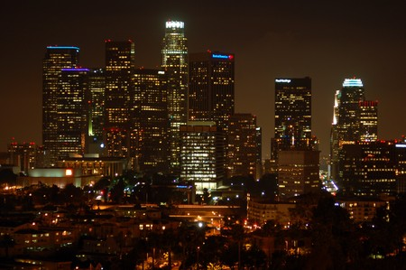 skyline at night of Buildings in business district of Los Angeles Downtown california