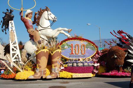 flower parade: oklahoma cowboy float at 118th Rose Parade on January 1, 2007 at Colorado Boulevarde Pasadena California Editorial