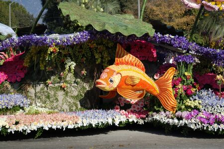 decorated float at 118th Rose Parade on January 1, 2007 at Colorado Boulevarde Pasadena California