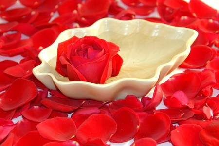 aroma bowl: red rose flower,petals used for aromatherapy spa Stock Photo