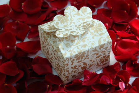 white valentine pearl gift box on rose flower petals Stock Photo - 8638524