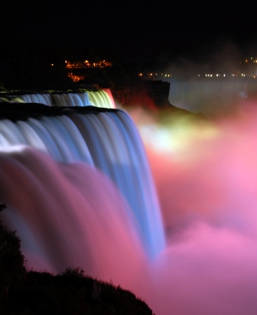 scenic night view of Niagara Falls in New York usa