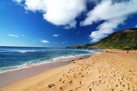 hawai: vista panor�mica de la playa de arena en Honolulu Hawaii USA Foto de archivo