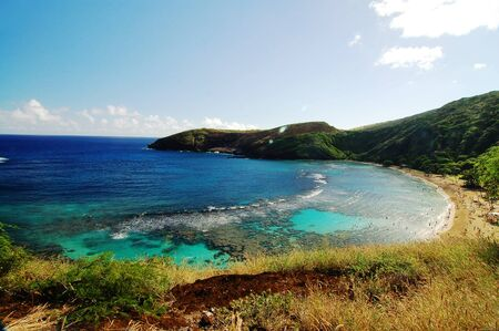 Aerial view of Hanauma Bay Reef Honolulu Hawaii USA