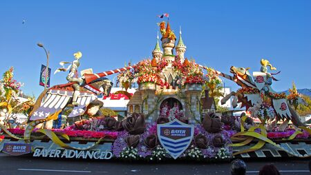 tournament of roses: PASADENA, CAUSA - JANUARY 1: Bayer Advanced Camelot Float at the 122nd tournament of roses Rose Parade on January 1 2011 in Pasadena California Editorial
