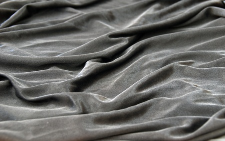 grey black satin silk fabric texture with details Stock Photo