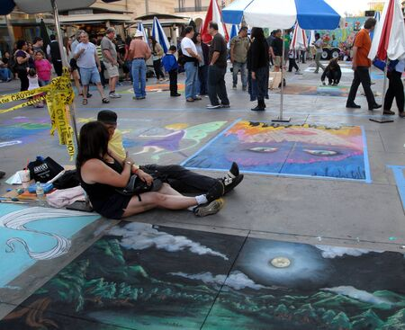paseo: Painting Art Murals with chalk on street at the 19th Annual Pasadena Chalk Festival held on June 18 and 19 2011 at Paseo Colorado.It is an annual event in Pasadena