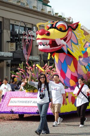 Southwest Airlines Dragon Float at Sixth Annual Chinese Lunar New Year Parade on February 18 2007 in Pasadena California. It is a celebration by the Asian American COmmunity