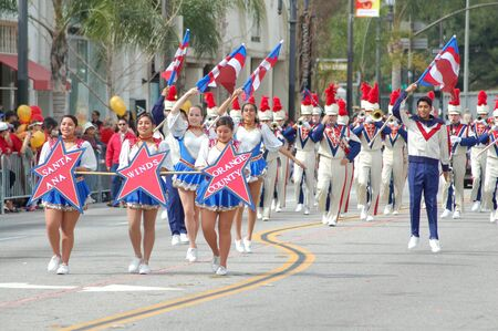 marching band: Santa Ana Winds Orange County Marching Band at Sixth Annual Chinese Lunar New Year Parade on February 18 2007 in Pasadena California. It is a celebration by the Asian American COmmunity