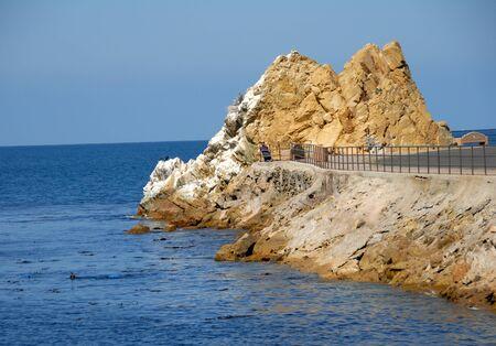 catalina: Path Leading to Rocks on Catalina Island avalon california Stock Photo