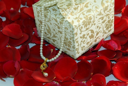 white valentine pearl gift box on rose flower petals  Stock Photo - 10268826