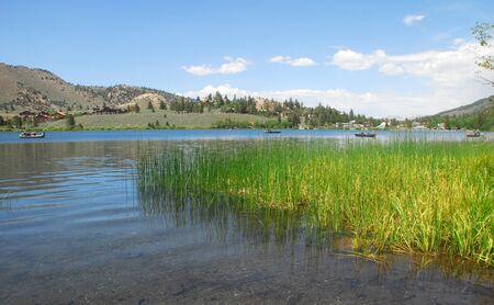mammoth lakes: gull lake at scenic june lake loop in mammoth lakes california